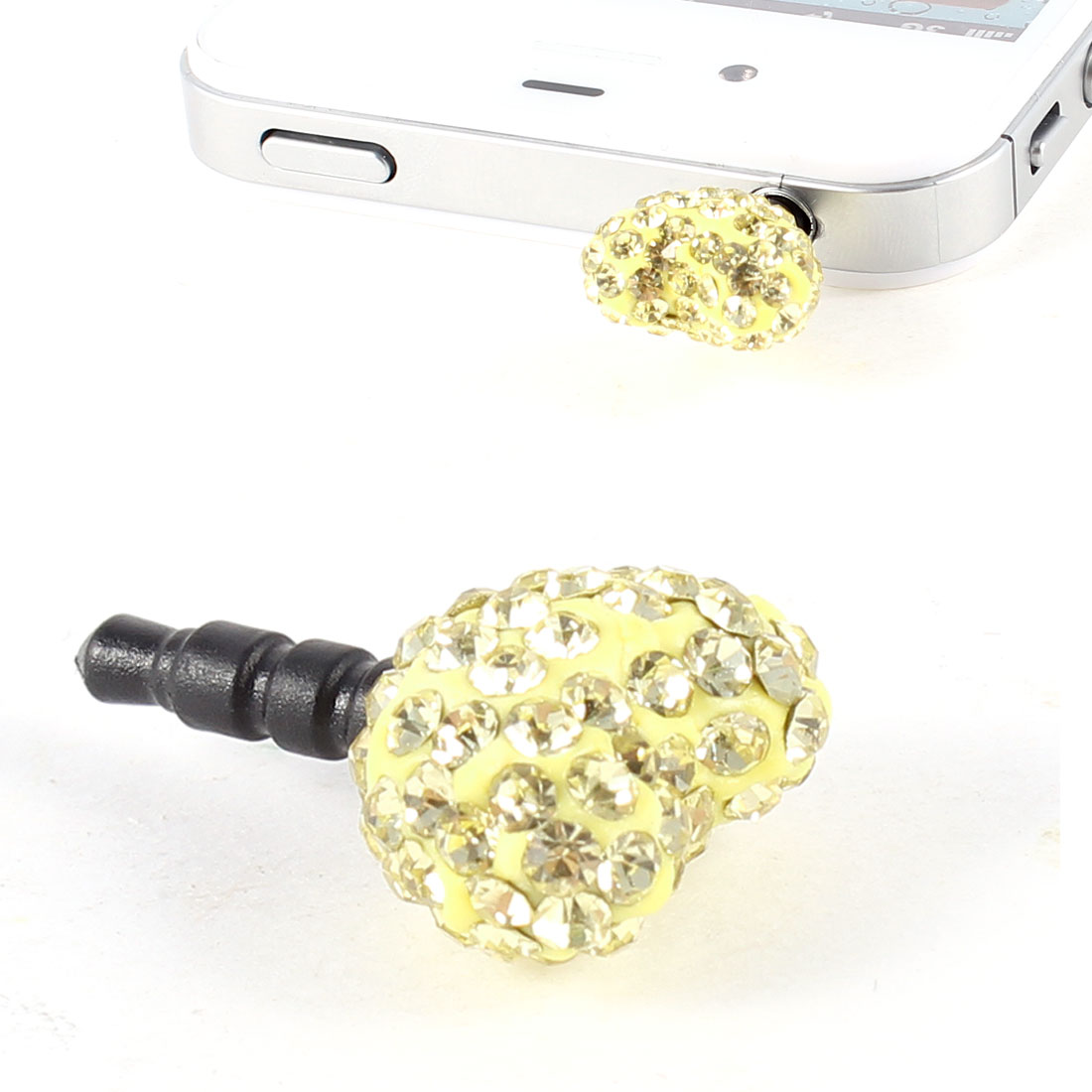 Unique Bargains Yellow Rhinestone Heart Detailing 3.5mm Antidust Earphone Jack Plug Stopper
