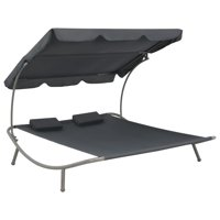 vidaXL Outdoor Lounge Bed with Canopy Steel and Fabric Gray