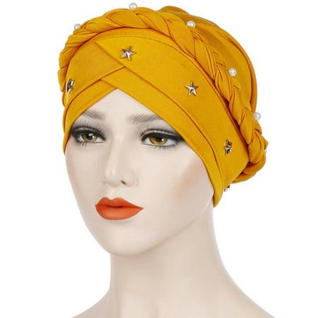 Twist Star - Turbans for Women, Aniwon Star Pearl Decor Stretchy Twisted Beading Braid Chemo Cancer Cap Hat Arabic Head Wrap Scarf Muslim Islamic Hijab for Girls
