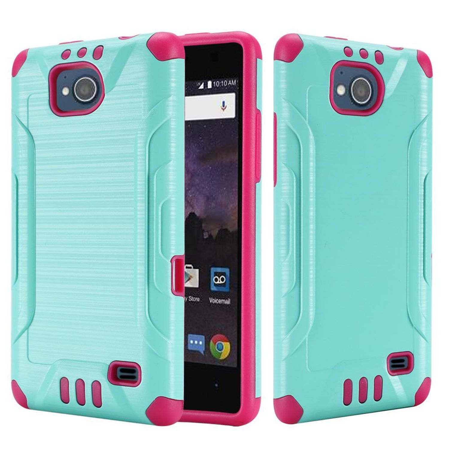 ZTE Majesty Pro LTE/Tempo Case, by HR Wireless Dual Layer Hybrid Rubber Coated Hard Plastic/Soft Silicone Case Cover For ZTE Majesty Pro LTE Z799VL/Tempo, Teal/Hot Pink