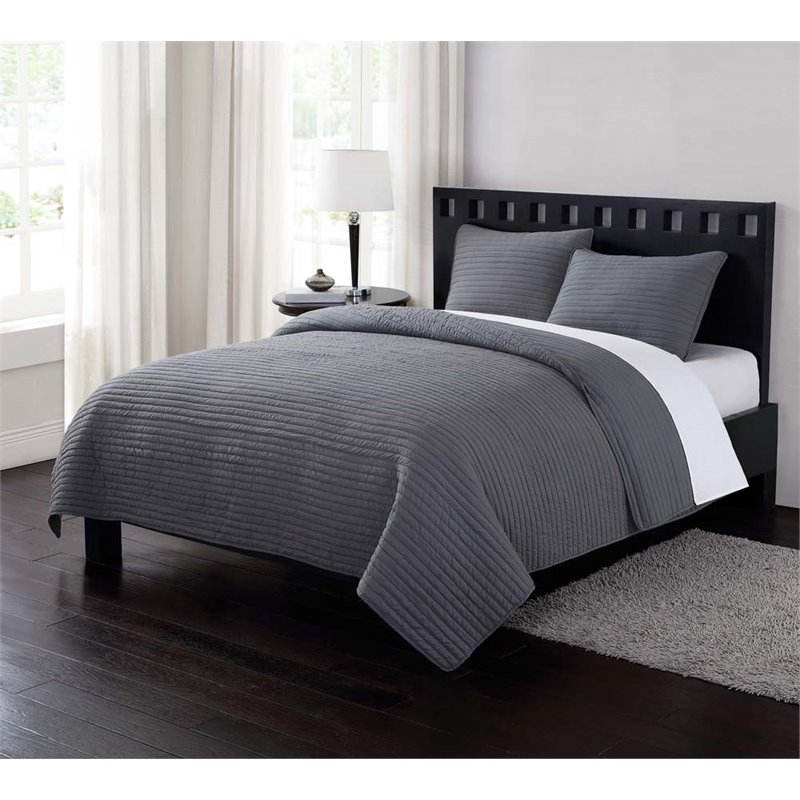 PEM America London Fog Garment 3 Piece King Quilt Set in Gray