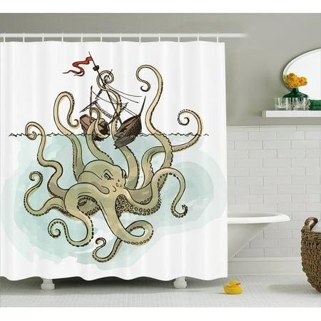 Kraken Shower Curtain Octopus Sinking The Pirate Ships Greek Myth Fish Culture Cartoon Artwork Image