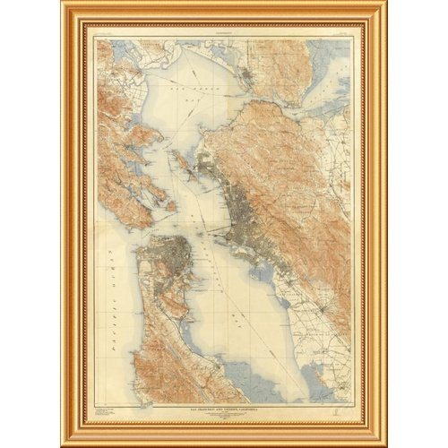 East Urban Home 'San Francisco and Vicinity, California, 1915' Framed Graphic Art Print on Canvas