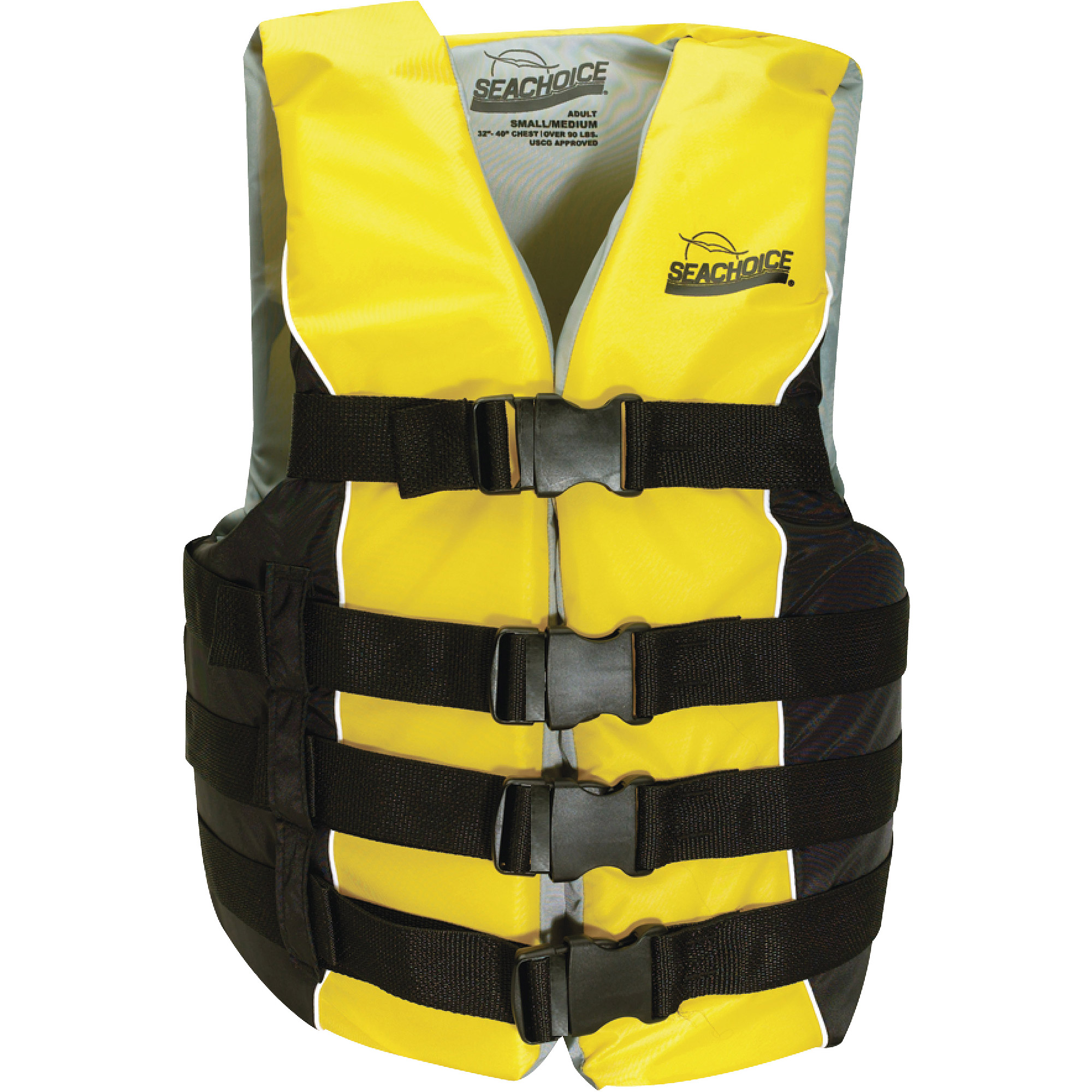 Seachoice Deluxe Type III 4-Belt Yellow/Black Adult Ski Vest for 90 lbs and Up