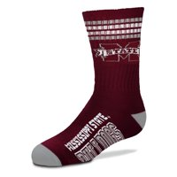 Mississippi State Bulldogs For Bare Feet Youth 4-Stripe Deuce Quarter-Length Socks