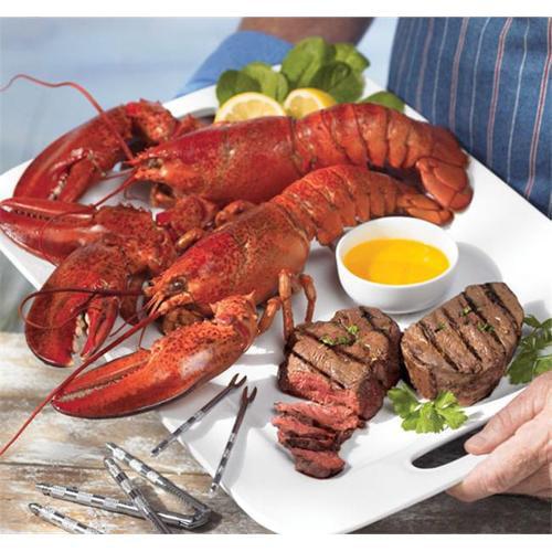 Lobster Gram STGR4J SURF & TURF GRAM DINNER FOR FOUR WITH 1. 5 LB LOBSTERS