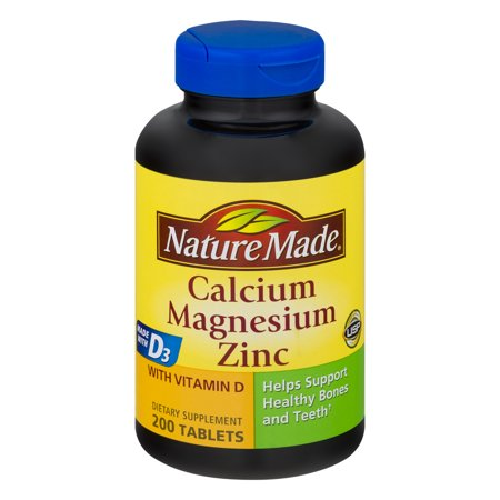 Nature Made calcium, magnésium, zinc Compléments alimentaires Comprimés, 200 count