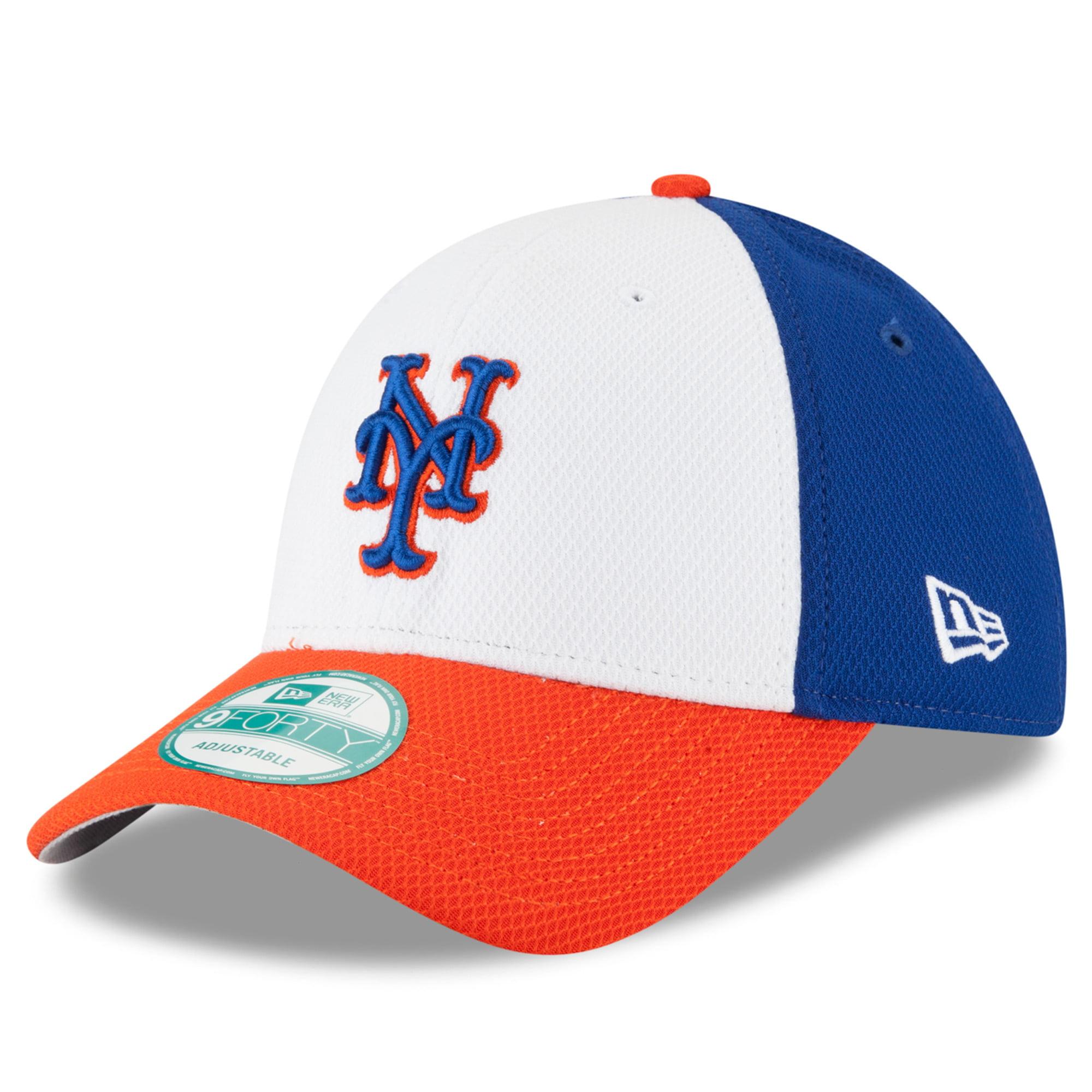 New York Mets New Era Perforated Block 9FORTY Adjustable Hat - White/Orange - OSFA