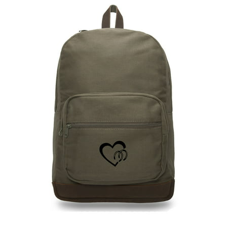 Heart with Horse Shoes Love Your Horses Backpack with Leather Bottom