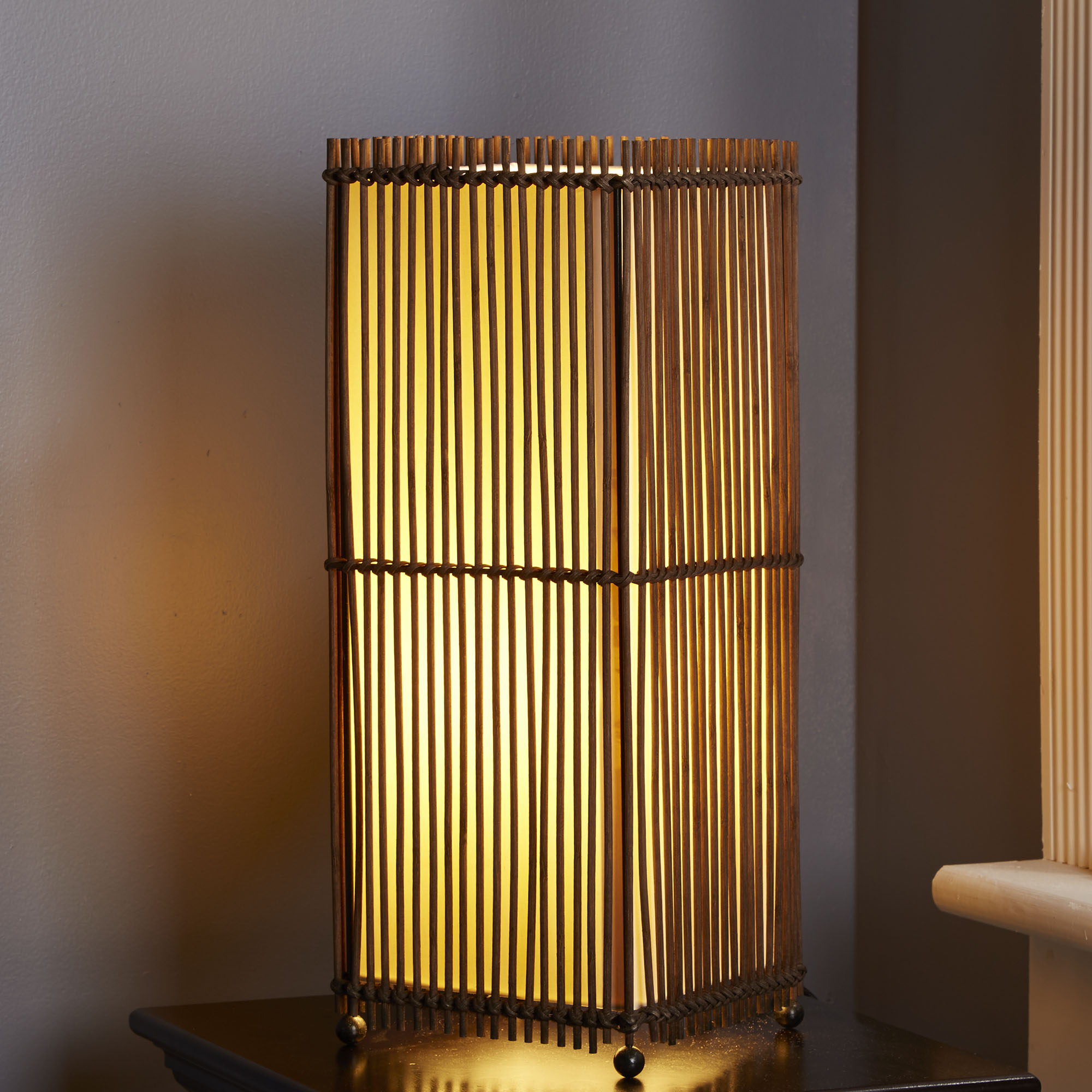 Better Homes and Gardens Rattan Square Uplight Lamp, Brown