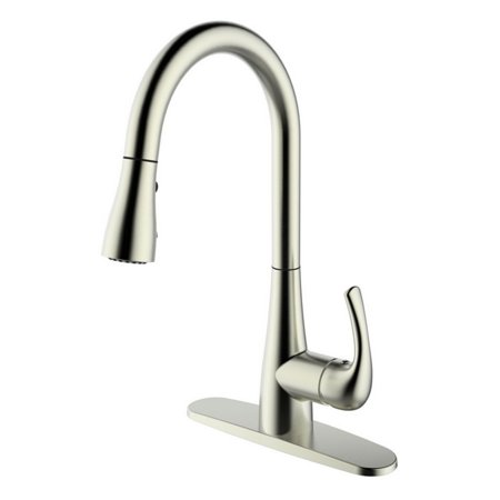 - RUNFINE Group RF422001 patented design 8 inch deck kitchen faucet,Brushed Nickel Finish.