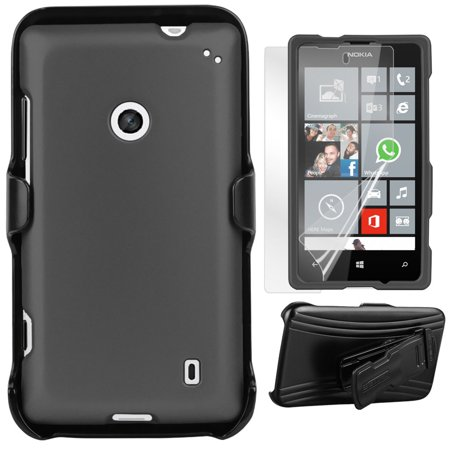 GRAY HARD CASE + BELT CLIP HOLSTER + SCREEN PROTECTOR FOR NOKIA LUMIA 520