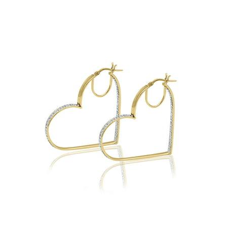 10 Karat Gold Crystal Medium Heart Hoops Earrings Made with Zirconia by Swarovski ()