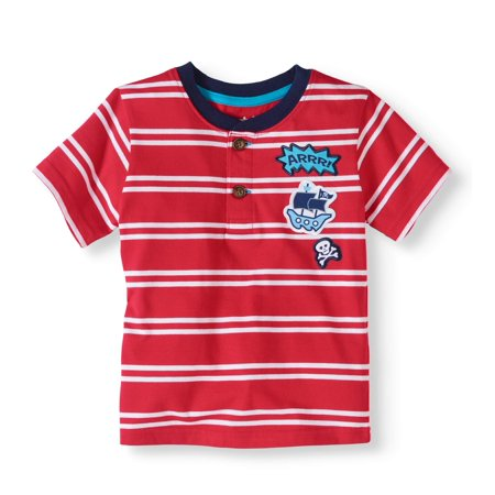 Toddler Boy Short Sleeve Stripe Henley Top