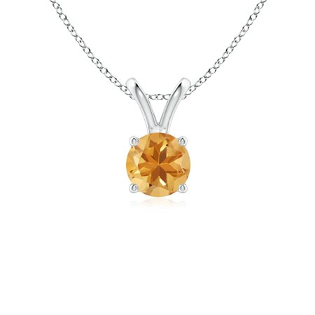 V-Bale Round Citrine Solitaire Pendant in 14K White Gold (5mm Citrine) - SP0531CT-WG-A-5