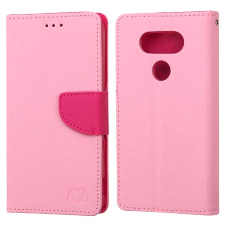 Insten Folio Leather Wallet Case with card slot For LG G5 - Pink - image 2 de 4
