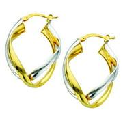 Metal Marketplace International Two-tone Sterling Silver Italian Double Curved Intertwined Hoop Earrings