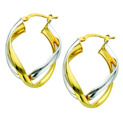 Metal Marketplace International Two-tone Sterling Silver Italian Double Curved Intertwined Hoop Earrings