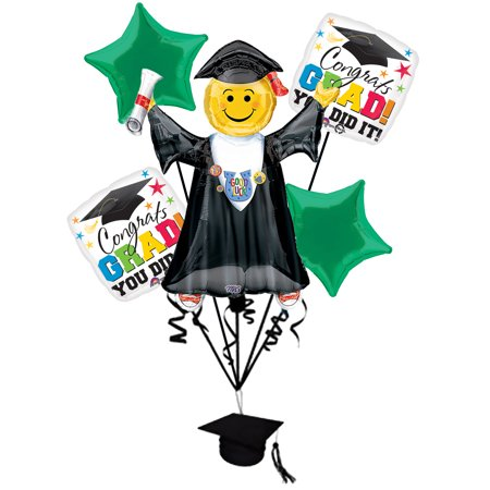 Anagram Congrats Grad Jumping Smiley Emoticon Bouquet 7pc Balloon Pack - Black And Yellow Graduation Decorations