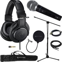 Audio-Technica M20x Professional Monitor Headphones ATH-M20X & Technical Pro Microphone Bundle includes Headphones, Microphone, Stand, Holder, XLR Cables, Case and Wind Screen