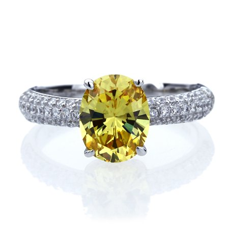 - Men's Platinum Plated Sterling Silver 2.5ct Oval Canary Yellow CZ Ladies Cocktail Ring ( Size 5 to 9 )