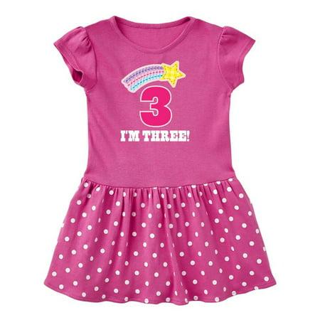 3rd Birthday 3 Year Old Girls Rainbow Star Toddler Dress (Star Dress)