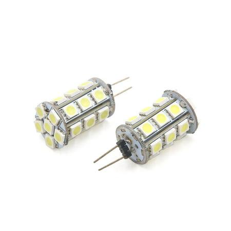 2Pcs 12V G4 White 24 LEDs Panel Dashboard Light Lamp Bulb for Car (12v 24 Led Bulb Lamp)
