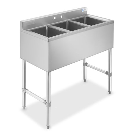 Compartment Bar Sink - GRIDMANN 3 Compartment NSF Stainless Steel Commercial Bar Sink