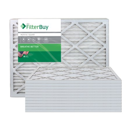 AFB Silver MERV 8 12x30x1 Pleated AC Furnace Air Filter Pack of 12 Fil