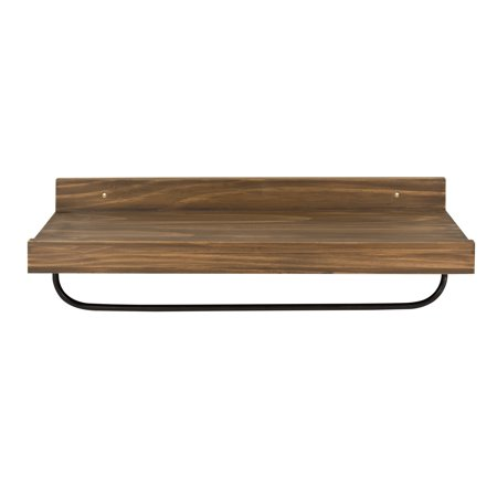 Kate and Laurel Torben Multi-Use Floating Wooden Wall Shelf with Hanging Metal Bar, 24 x 8 Inches Rustic Caramel Brown