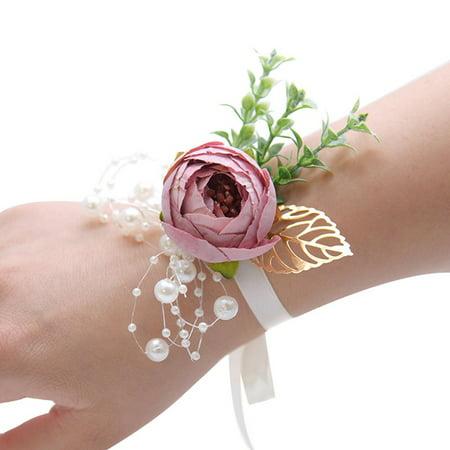 Fancyleo 1Pcs Peony Flower Wrist Corsage Pearl Bead Bracelet Wedding Prom Party Bridesmaids Decor ()