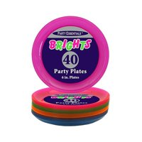 1 - Party Essentials 6″ Plastic Party Plates – Assorted Neon 40 Ct.