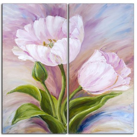 (Design Art Tulips Floral 2 Piece Painting Print on Wrapped Canvas Set)