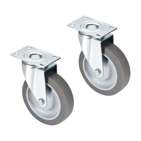 4 Inch Mounting Plate - Swivel Caster Wheels 4 inch TPR Caster Top Plate Mounted 242lb Capacity, 2pcs