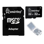 Smartbuy 32GB Micro SDHC Class 4 TF Flash Memory Card SD HC C4 Fast Speed for Camera Mobile Phone Tab GPS MP3 TV + Adapter + Mini Case
