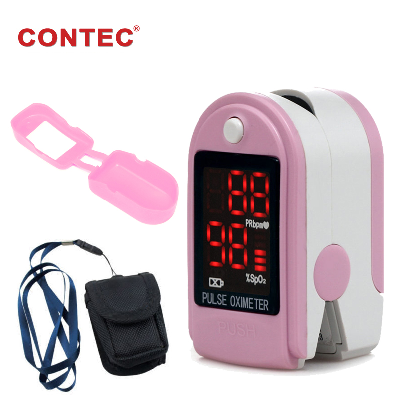 Finter tip Pulse Oximeter Pink with rubber case CONTEC