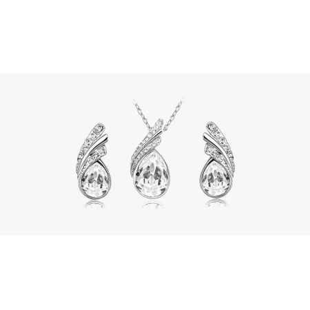 Angel Tear Drop Austrian Crystal Pendant & Earring Set - image 3 of 5
