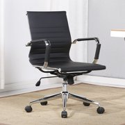 Belleze Mid-Back Faux Leather Adjustable Swivel Office Chair Soft Ribbed Armrest, Black