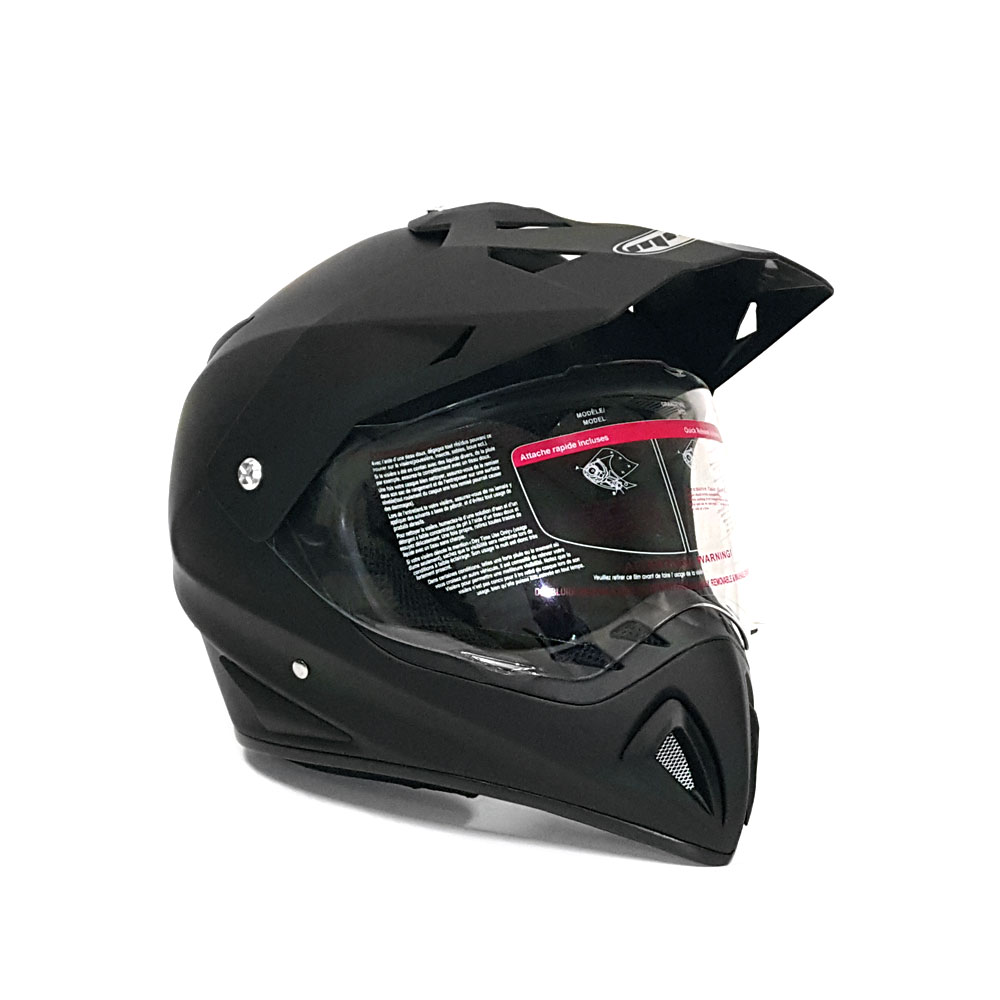 Helmet Dual Sport Off Road Motorcycle Dirt Bike ATV - FlipUp Visor - 27V (XL, Matte Black)