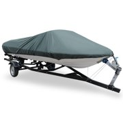 16-18ft V-Hull 210D Boat Cover Waterproof Trailerable Gray