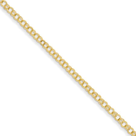 14kt Yellow Gold 3.5mm Solid Double Link Charm Bracelet 7 Inch Fine Jewelry Ideal Gifts For Women Gift Set From Heart 7' Double Link Charm Bracelet