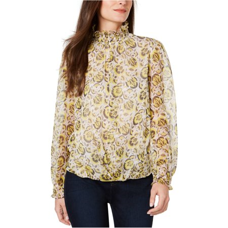 Vince Camuto Womens Smocked Pullover Blouse