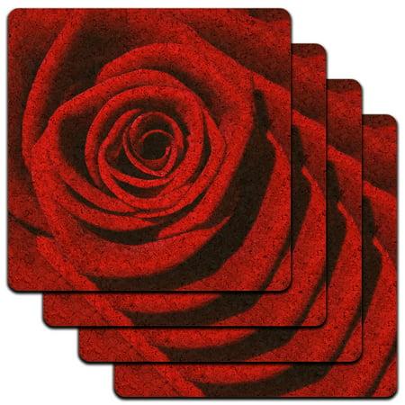 Red Rose Low Profile Cork Coaster Set - Cork Coasters Bulk