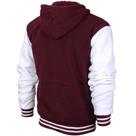 Men's Athletic California Sherpa Fleece Lined Cali Zip Up Hoodie Jacket (Burgundy White, 2XL)