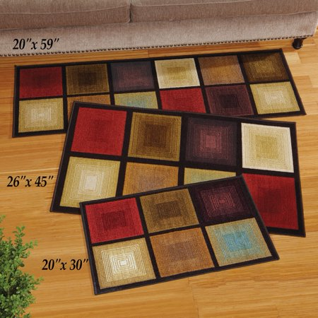 Optic Squares Skid Resistant Accent Rug 20 X 59 Brown