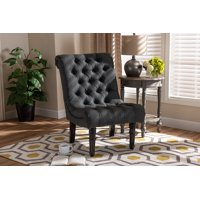 Baxton Studio Barthe Classic and Traditional Beige Fabric Upholstered Accent Chair with Rolled Back
