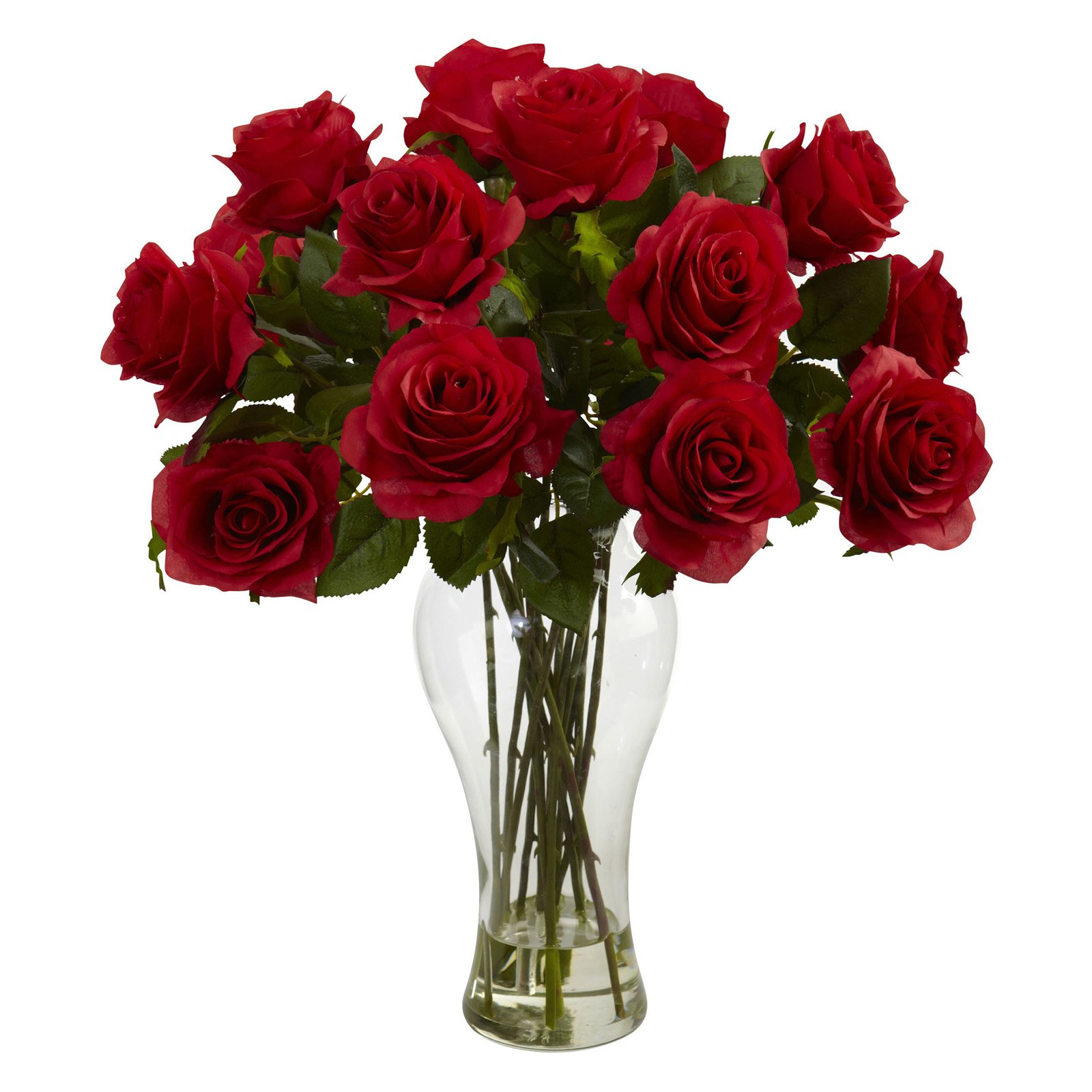 Nearly Natural Blooming Roses with Vase, Red