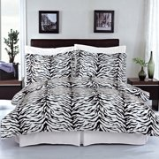 Clearance: Soft 100% Cotton Printed 3 Piece Duvet Cover Set-Full/Queen-Zebra
