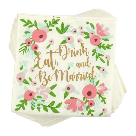 100-Pack Cocktail Napkins - Eat, Drink and Be Married Disposable Paper Party Napkins with Floral Design - Perfect for Bachelorette and Wedding Party Celebrations - 5 x 5 Inches Folded Cocktail Drink Napkins