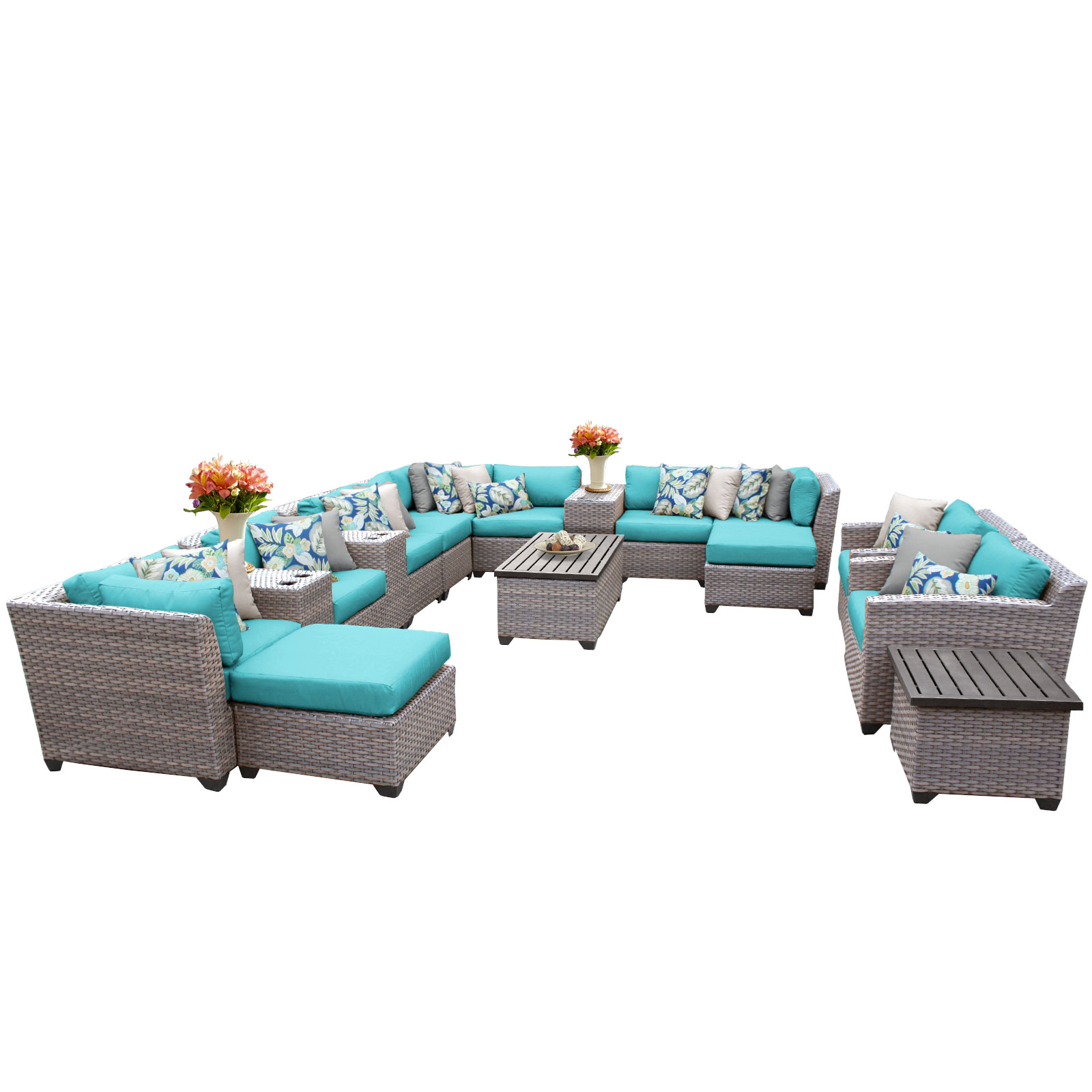 Catalina 17 Piece Outdoor Wicker Patio Furniture Set 17a by TK Classics